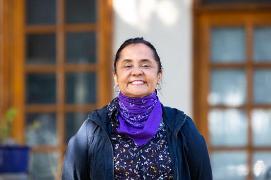woman in purple scarf