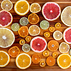 table of sliced citrus